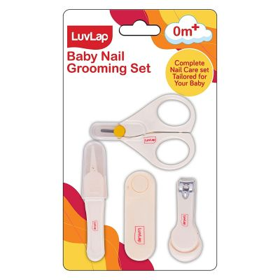 LuvLap Baby Grooming Scissors & Nail Clipper Set/Kit, Manicure Set, 4pcs, White, 0 M+