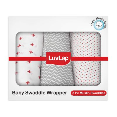 LuvLap Muslin Baby Swaddle, White, Dots