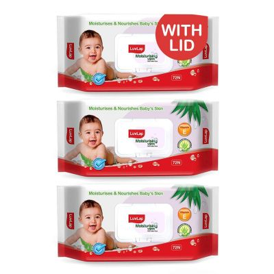 LuvLap Baby Wipes with Aloe Vera, with Flip-top Lid - Pack of 3