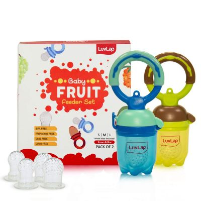 LuvLap Baby Food and Fruit Feeder Twin Pack, BPA Free, Brown and Blue