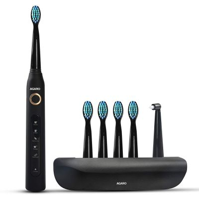 AGARO COSMIC PLUS Sonic Electric Tooth Brush For Adults With 5 Modes, 5 Brush Heads, 1 Interdental Head, Carry Case & Rechargeable With 4 Hours Charge Lasting Up To 25 Days, Power Toothbrush, (Black)