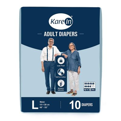 KareIn Adult Diapers - 10 Pcs L, Up to 10 Hours Long Protection