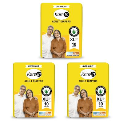 KareIn Overnight Adult Diapers - 30 Pcs XL, Up to 16 Hours Long Protection