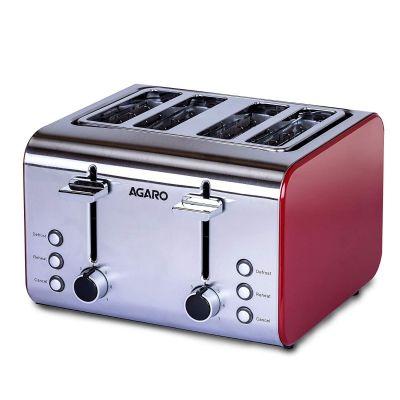 AGARO GRAND 4 Slice Pop-up Toaster 1400-1600W, Steel & Red