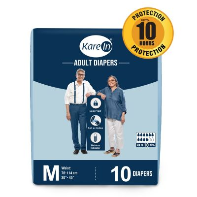 KareIn Adult Diapers - 10 Pcs M, Up to 10 Hours Long Protection