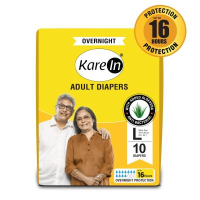 KareIn Overnight Adult Diapers - 10 Pcs L, Up to 16 Hours Long Protection