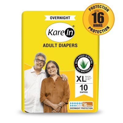 KareIn Overnight Adult Diapers - 10 Pcs XL, Up to 16 Hours Long Protection